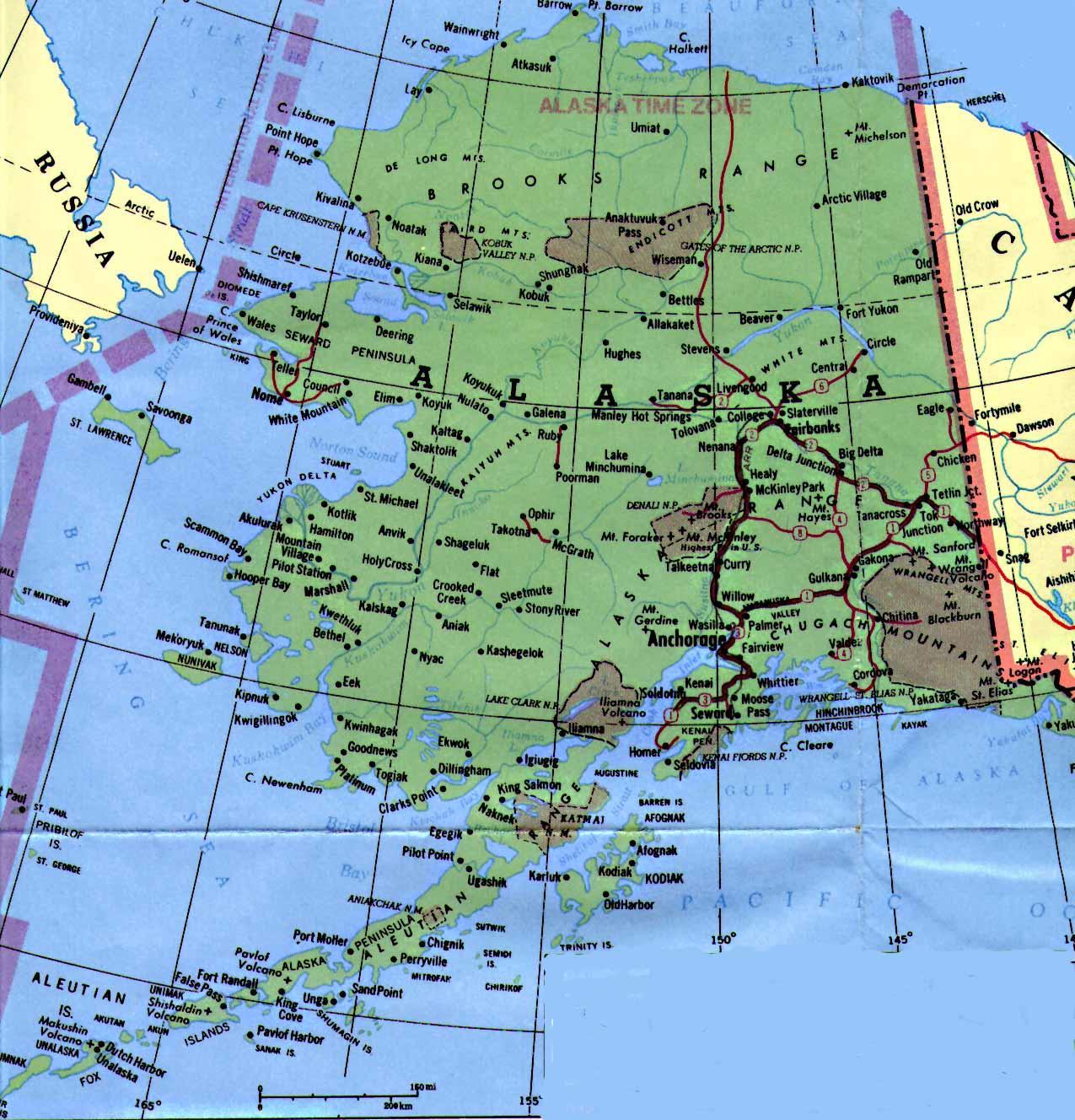 Alaska Map   TravelsFinders.Com ®