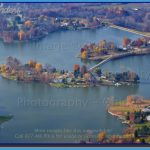 close up aerial view of an island in Holiday Lakes near Willard, Ohio