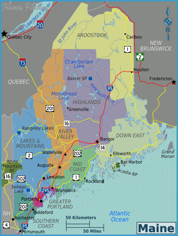 Maine Map Travel Map Vacations TravelsFindersCom - Maine map
