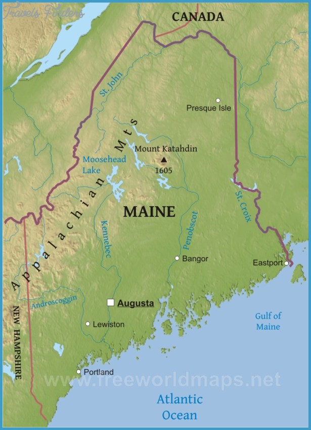 Maine Map Jpg Travel Map Vacations TravelsFindersCom - Maine blank physical map