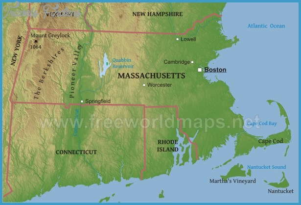 Physical map of Massachusetts, equirectangular projection