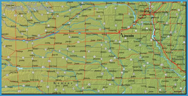 Map of Nebraska and the Surrounding Region