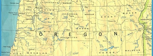State map of Oregon