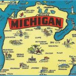 Mackinaw City MI MICHIGAN MAP CARD The Water Wonderland & The Tourist