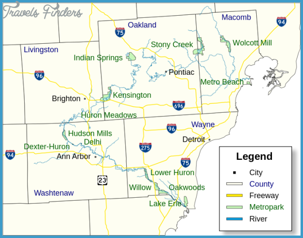 Michigan Metro Map Travel Map Vacations TravelsFindersCom - Michigan us map
