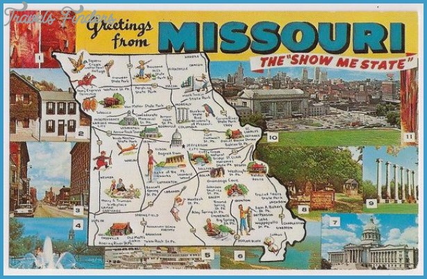 Retro Missouri Tourist Map Souvenir Vacation Postcard Greetings from ...