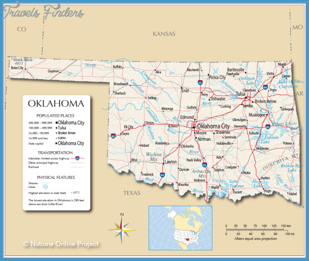 Oklahoma Map Travel Map Vacations TravelsFindersCom - Map of the state of oklahoma