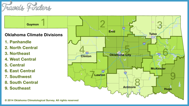 This map shows Oklahoma counties separated into the nine climate