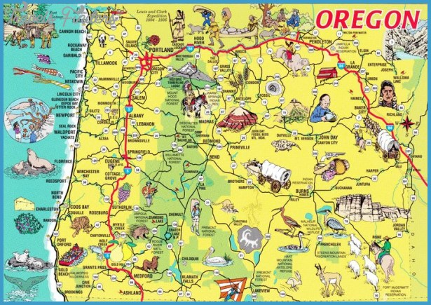 Oregon Tourist Map | The Oregon Trail | Pinterest