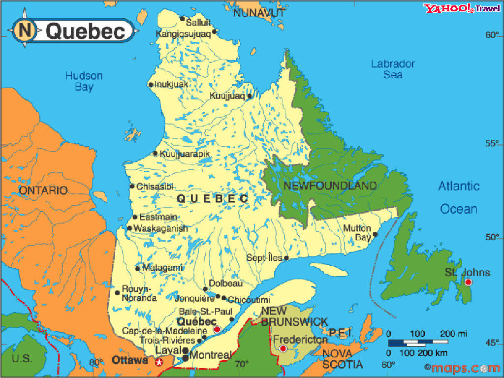 Quebec Map Travelsfinders Com