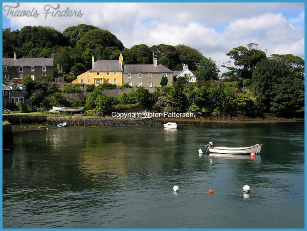 Houses around the shoreline of Strangford Lough at Strangford, Co Down ...