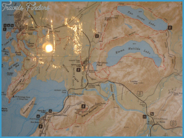 Map of Jackson Lake Lodge, Two Ocean, Emma Matilda, Moran Junction ...