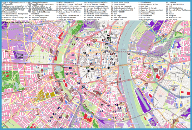 City map Cologne with points of interest