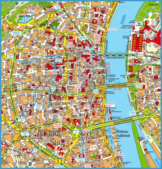 Map of Cologne | TravelsFinders.Com ®