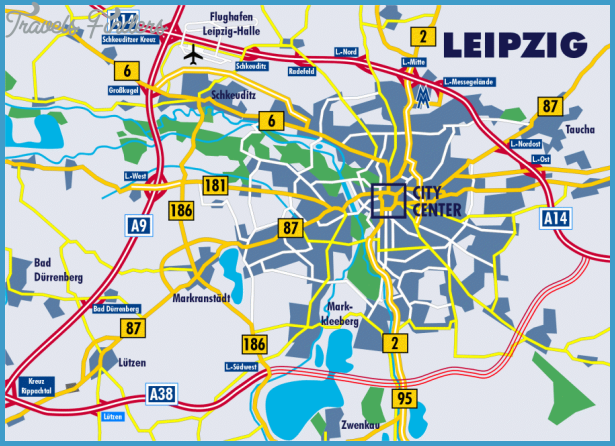 Map of Leipzig and its neighborhood showing the autobahn network