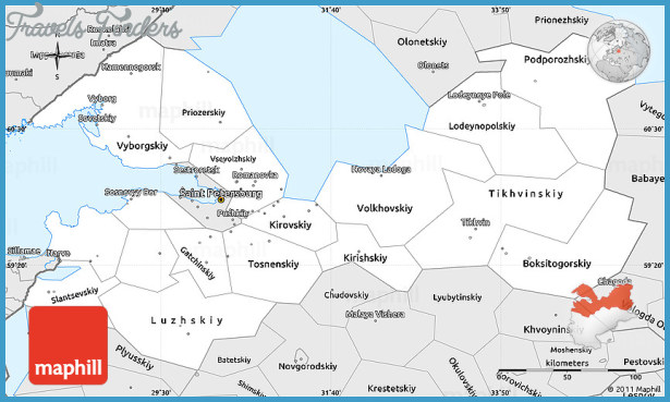 Silver Style Simple Map of Leningrad Oblast