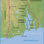Physical map of Rhode Island, equirectangular projection