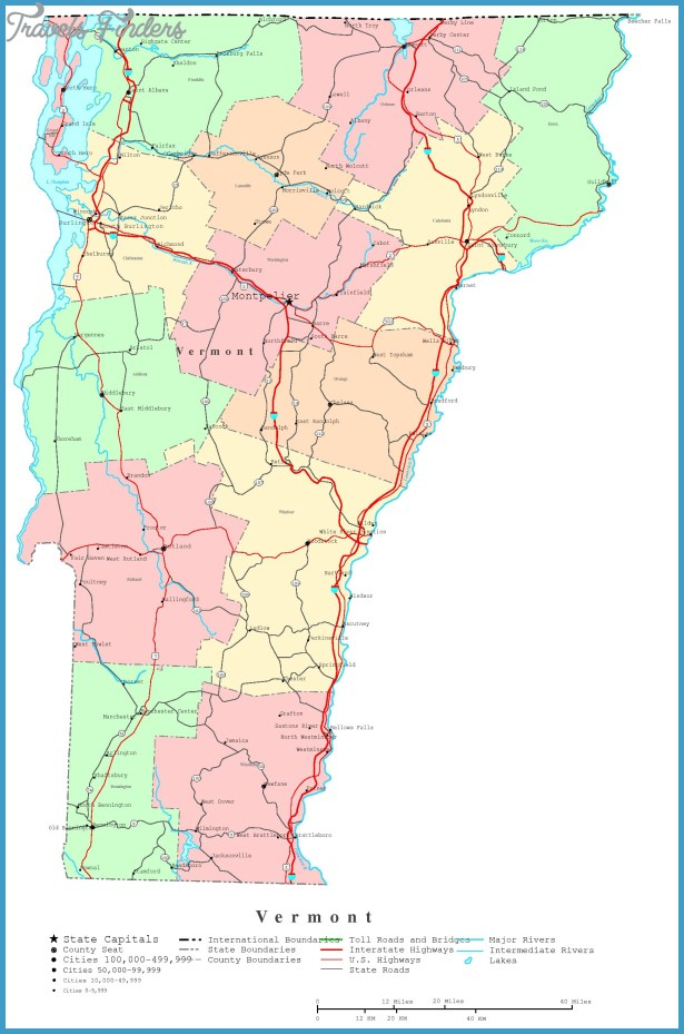 Map of Vermont TravelsFindersCom