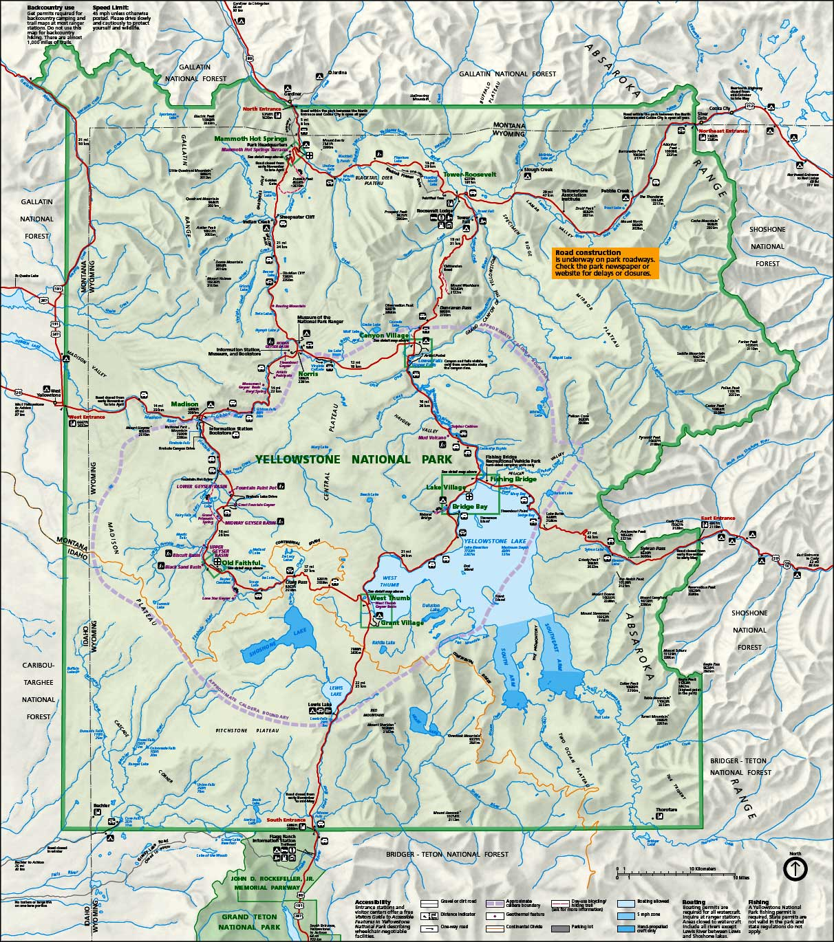 Map of Yellowstone National Park - TravelsFinders.Com ®