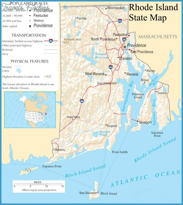 Rhode Island State Map - A large detailed map of Rhode Island State ...