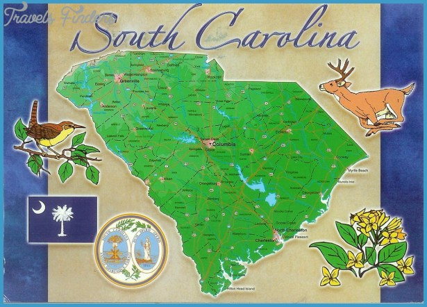 USA - South Carolina - Map card