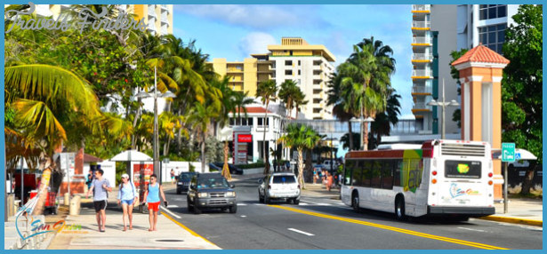 Scene of tourists walking around Condado and the metro bus.
