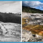 Left, No. 214. GROUP OF LOWER BASINS (Mammoth Hot Springs) ; Right, as