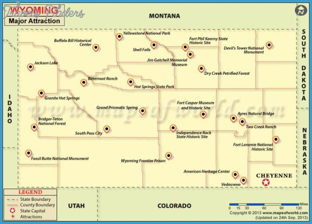 Wyoming Travel Attractions Map | Road Trip Anyone? | Pinterest
