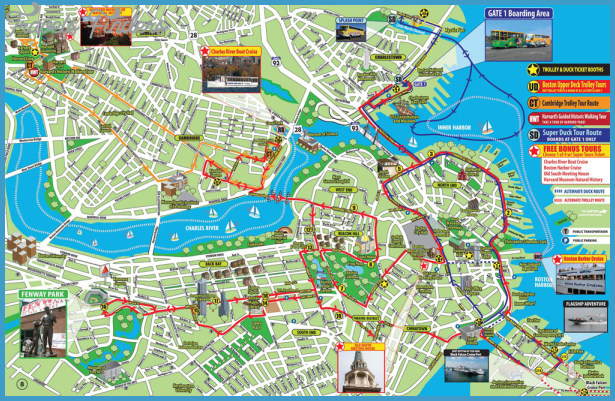 Map Of Boston Attractions Boston Map Tourist Attractions   TravelsFinders.®