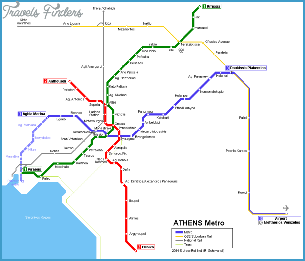 Athens Subway Map.Athens Subway Map Travelsfinders Com