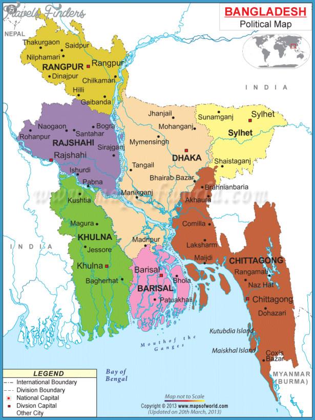 Bangladesh Map TravelsFindersCom - Tangail map
