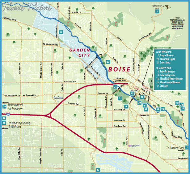 Boise City Map Tourist Attractions – Idaho Tourist Attractions Map
