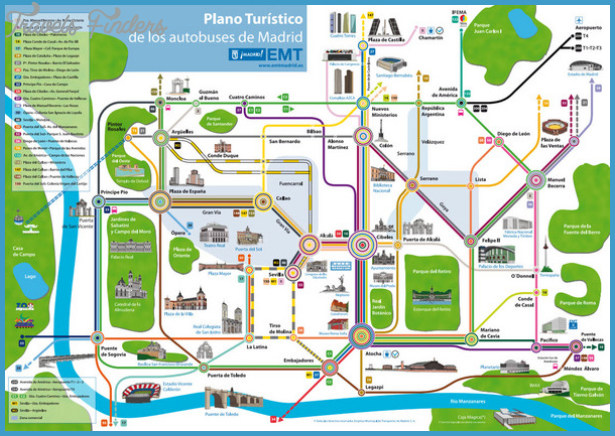 Madrid Bus Tourist Map - Madrid Spain  mappery
