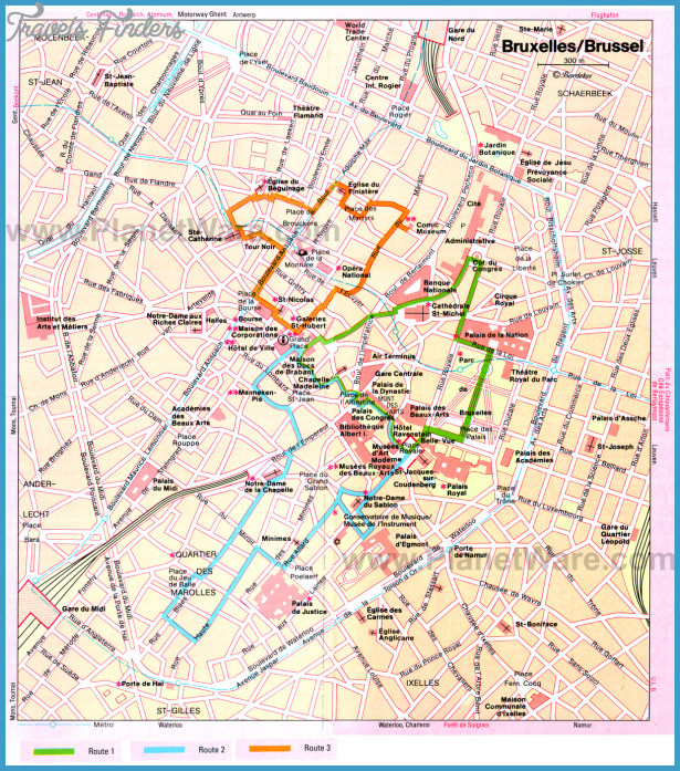 Brussels Map Tourist Attractions TravelsFindersCom