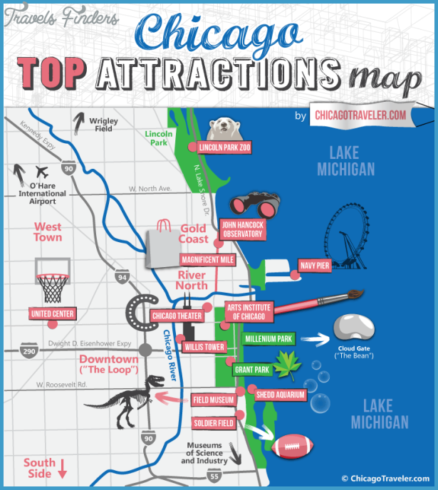 photo regarding Printable Maps of Chicago named Chicago Map Vacationer Sights - TravelsFinders.Com ®