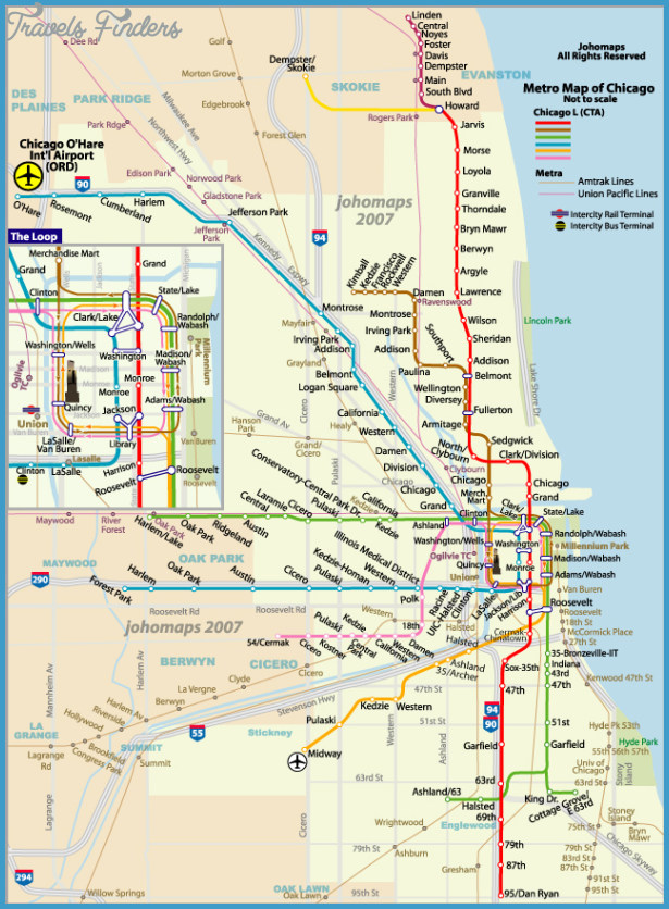 Subway Map Chicao.Chicago Subway Map Travelsfinders Com