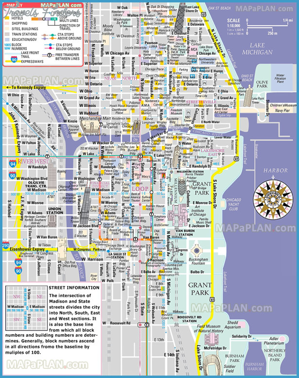Chicago map - Free inner city map showing Magnificent Mile shopping ...