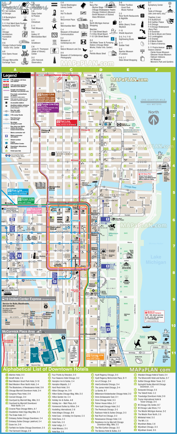 Chicago Top Tourist Attractions Map 07 Direction Downtown