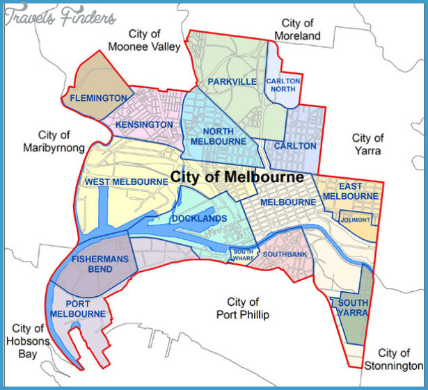City of Melbourne Australia Boundary Map - Melbourne Australia