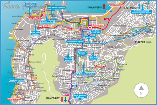 Cape Town Map Tourist Attractions TravelsFindersCom