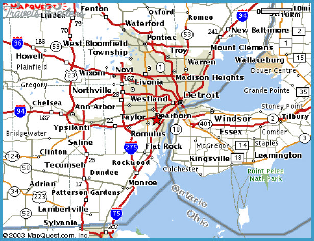Detroit Metro Map - TravelsFinders.Com
