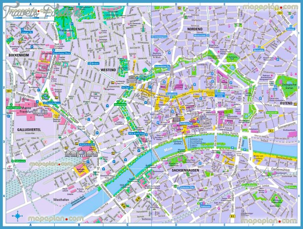 Frankfurt Map Tourist Attractions TravelsFindersCom