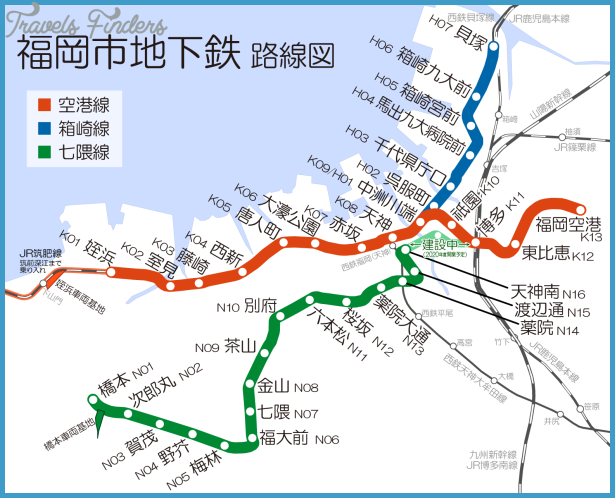 Fukuoka Subway Map TravelsFindersCom