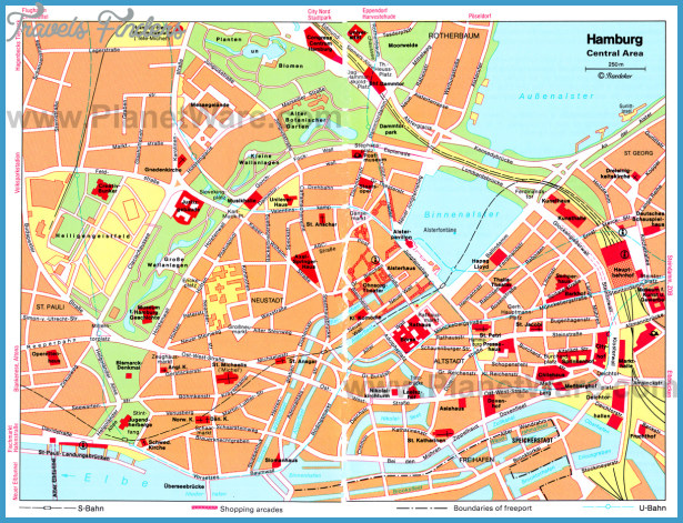 Hamburg Central Area Map - Tourist Attractions