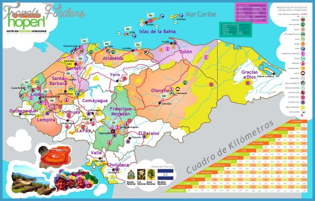 Honduras map showing touristic locations and hotels )