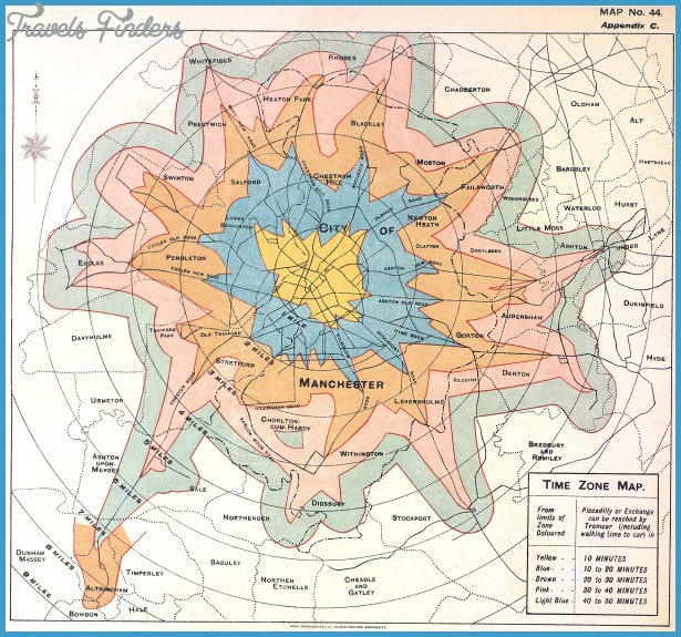 Time Zone Map, 1914. Produced by Manchester City Council tramways ...