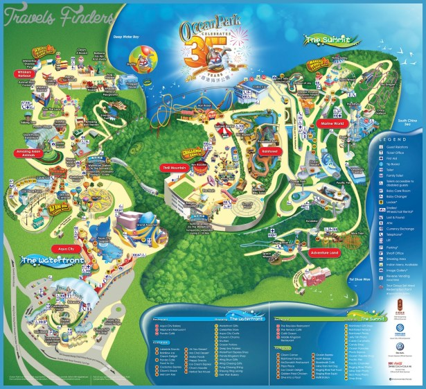 Hong Kong Ocean Park Tourist Map Maps of Hong Kong Tourist Attractions