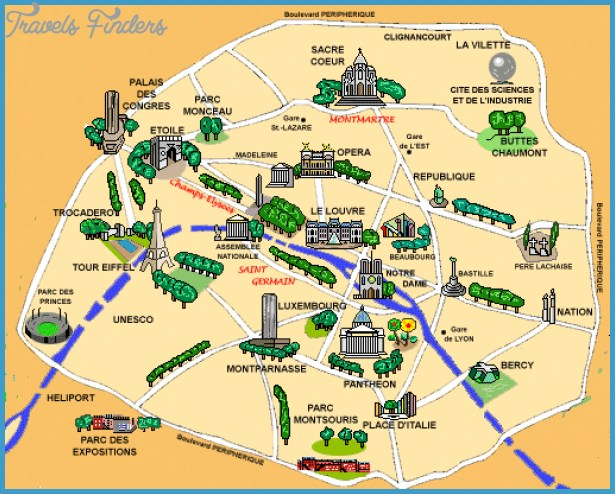 Paris Map Tourist Attractions TravelsFindersCom - Paris map 2016