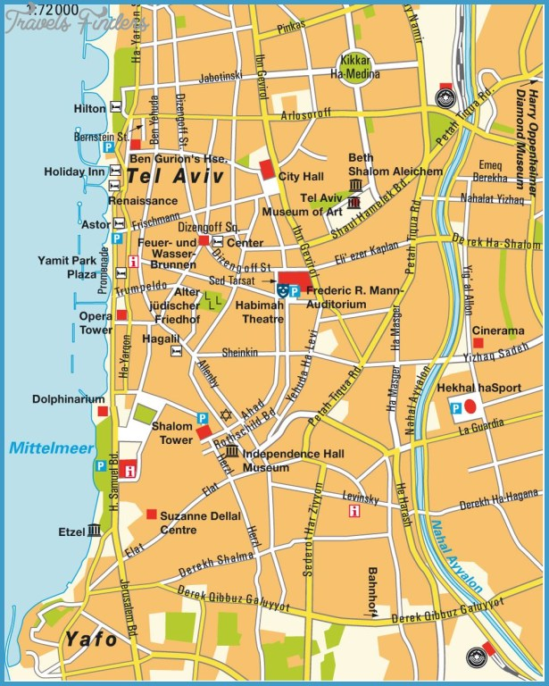 Tel Aviv Map TravelsFindersCom