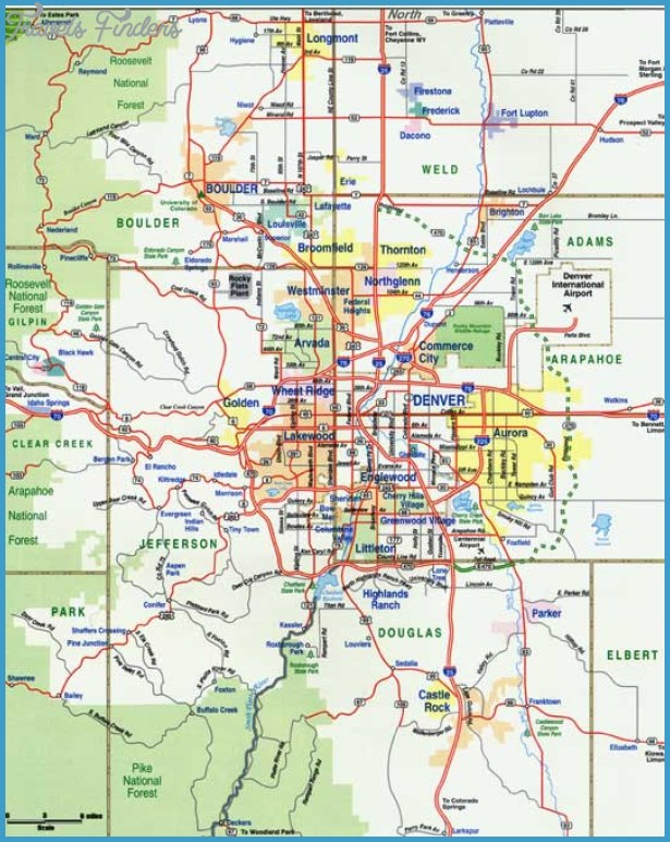 denver metro map travel map vacations travelsfinders